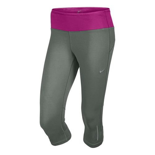 Womens Nike Epic Run Capri Tights - Grey/Magenta L