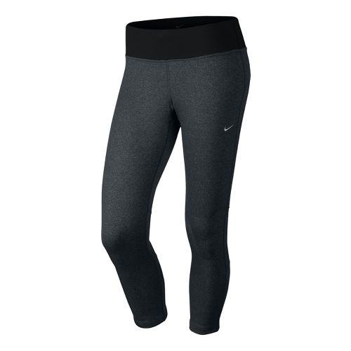Womens Nike Epic Run Crop Capri Tights - Black/Heather S