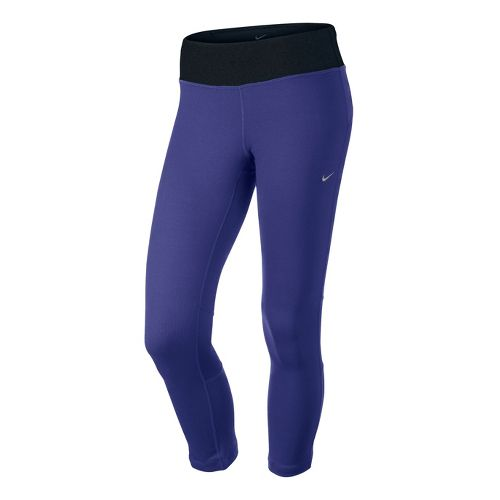 Womens Nike Epic Run Crop Capri Tights - Blue Night XS