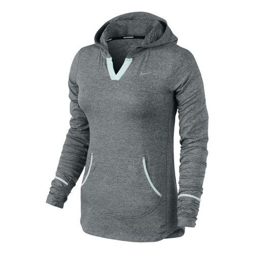 Womens Nike Element Hoodie Long Sleeve No Zip Technical Tops - Dark Olive/Cool Green L ...