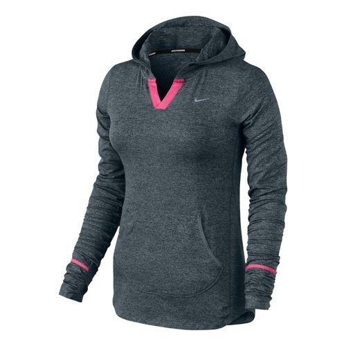 Womens Nike Element Hoodie Long Sleeve No Zip Technical Tops - Heather Grey/Pink Shock L ...