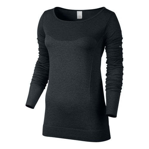 Womens Nike Dri-Fit Knit Epic Tee Long Sleeve No Zip Technical Tops - Black M ...