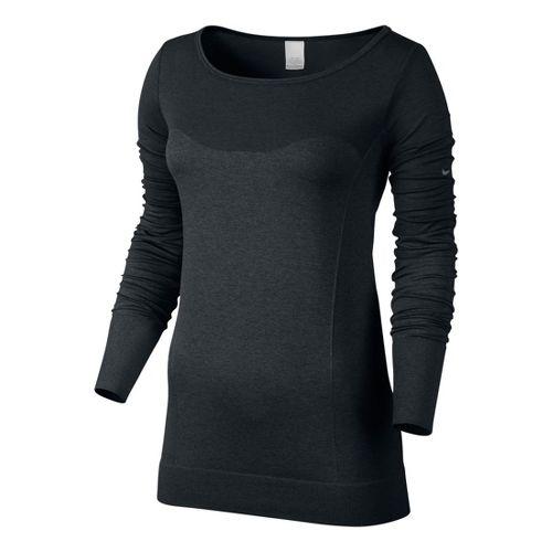 Womens Nike Dri-Fit Knit Epic Tee Long Sleeve No Zip Technical Tops - Black XS ...