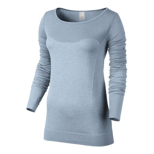 Womens Nike Dri-Fit Knit Epic Tee Long Sleeve No Zip Technical Tops - Crystal Blue ...