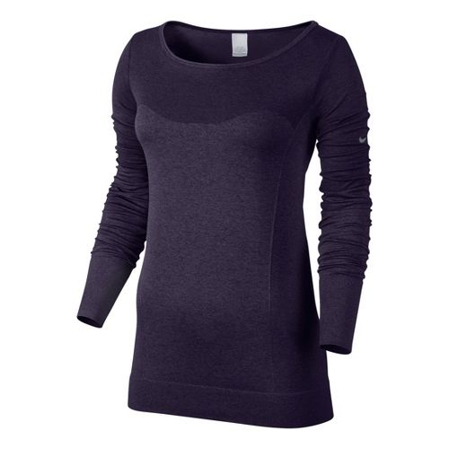 Womens Nike Dri-Fit Knit Epic Tee Long Sleeve No Zip Technical Tops - Dark Purple ...
