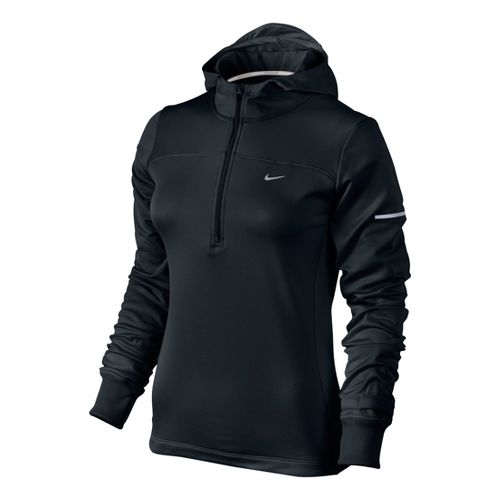 Womens Nike Thermal Hoody Long Sleeve 1/2 Zip Technical Tops - Black S