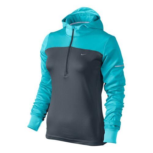 Womens Nike Thermal Hoody Long Sleeve 1/2 Zip Technical Tops - Carbon/Aqua Blue XS