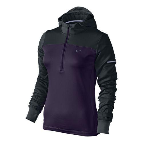 Womens Nike Thermal Hoody Long Sleeve 1/2 Zip Technical Tops - Dark Purple XL
