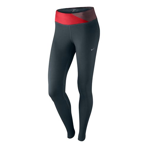 Womens Nike Epic Run Fitted Tights - Dark Grey/Formula Red XS