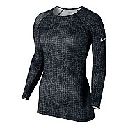 Womens Nike Pro Hyperwarm Crew II Print Long Sleeve No Zip Technical Tops
