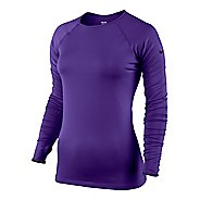 Womens Nike Pro Hyperwarm Tipped Long Sleeve No Zip Technical Tops