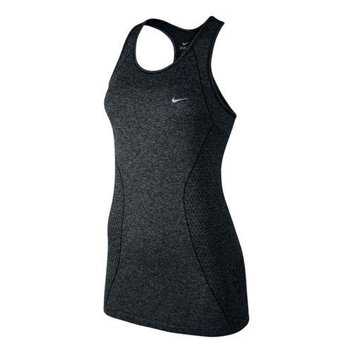 Womens Nike Dri-Fit Knit Tank Technical Tops - Black/Black XL