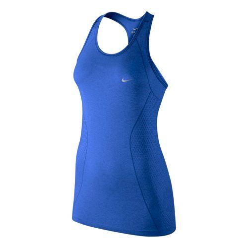 Womens Nike Dri-Fit Knit Tank Technical Tops - Cobalt M