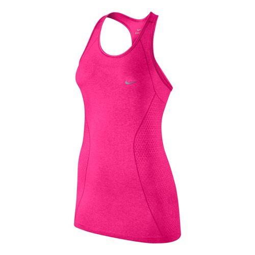 Womens Nike Dri-Fit Knit Tank Technical Tops - Hot Pink/Heather L