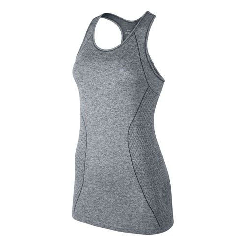 Womens Nike Dri-Fit Knit Tank Technical Tops - Light Grey M
