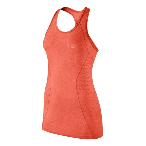 Womens Nike Dri-Fit Knit Tank Technical Tops - Orange Peel L