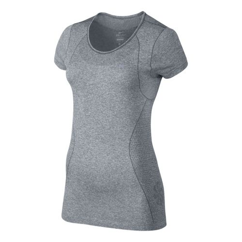 Womens Nike Dri-Fit Knit Short Sleeve Technical Tops - Light Grey M
