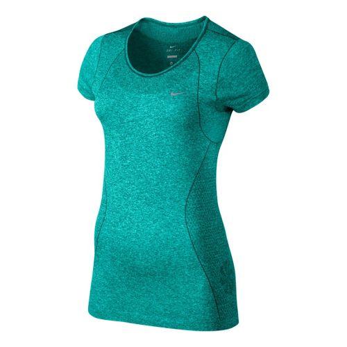 Womens Nike Dri-Fit Knit Short Sleeve Technical Tops - Sea Green L