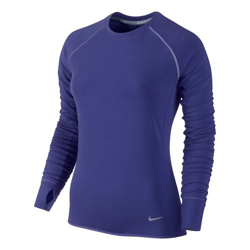 Womens Nike Feather Fleece Crew Long Sleeve No Zip Technical Tops - Blue Night S ...