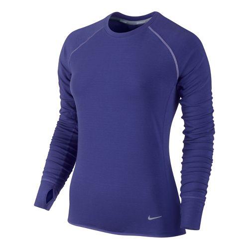 Womens Nike Feather Fleece Crew Long Sleeve No Zip Technical Tops - Blue Night XS ...