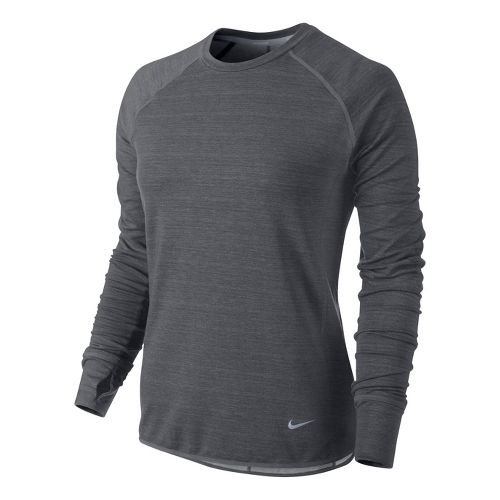 Womens Nike Feather Fleece Crew Long Sleeve No Zip Technical Tops - Dark Grey L ...