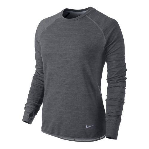 Womens Nike Feather Fleece Crew Long Sleeve No Zip Technical Tops - Dark Grey M ...