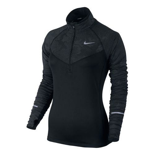 Womens Nike Reflective Element Long Sleeve 1/2 Zip Technical Tops - Black L