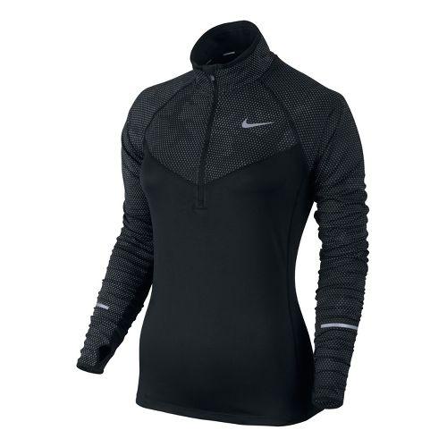 Womens Nike Reflective Element Long Sleeve 1/2 Zip Technical Tops - Black M