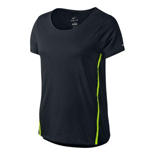 Womens Nike Tailwind Loose Short Sleeve Technical Tops - Black XL