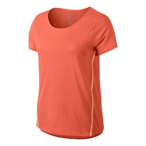 Womens Nike Tailwind Loose Short Sleeve Technical Tops - Orange Peel L