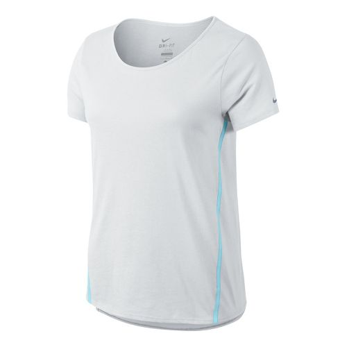 Womens Nike Tailwind Loose Short Sleeve Technical Tops - White XL