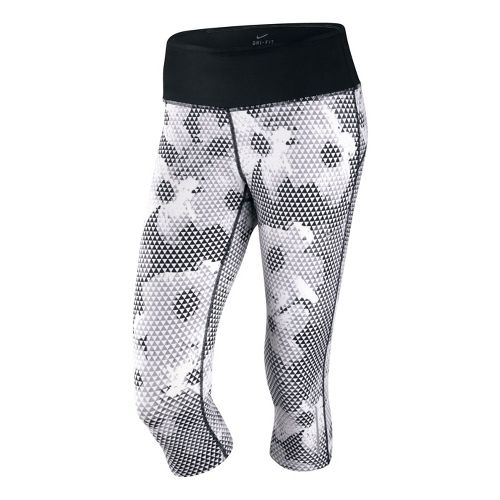 Womens Nike Epic Run Printed Capri Tights - White/Black XL