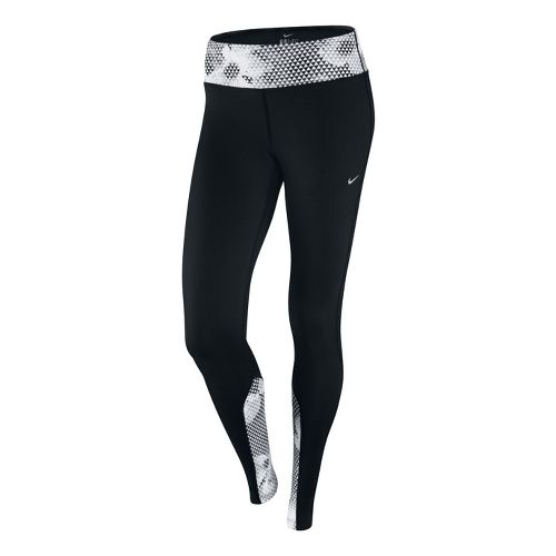 Womens Nike Epic Run Printed Capri Tights - Black/White XL