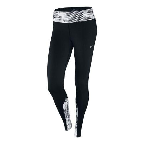 Womens Nike Epic Run Printed Capri Tights - Black/White XS
