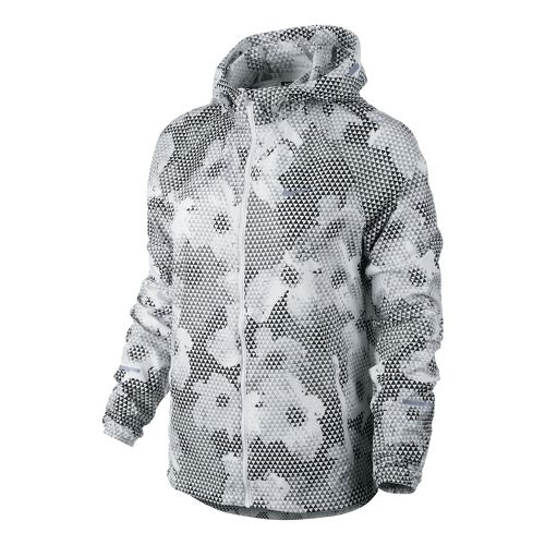 Womens Nike Printed Distance Running Jackets - White/Black L