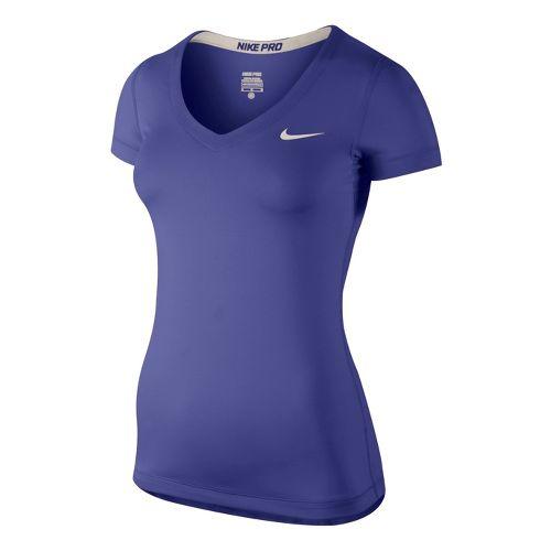 Womens Nike Pro V-Neck Short Sleeve Technical Top - Blue Night S