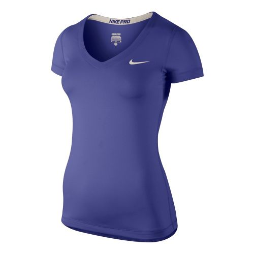 Womens Nike Pro V-Neck Short Sleeve Technical Top - Blue Night XL
