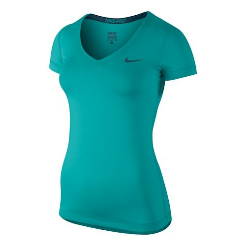 Womens Nike Pro V-Neck Short Sleeve Technical Top - Cactus M
