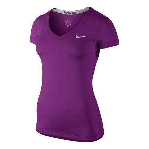 Womens Nike Pro V-Neck Short Sleeve Technical Top - Grape XS