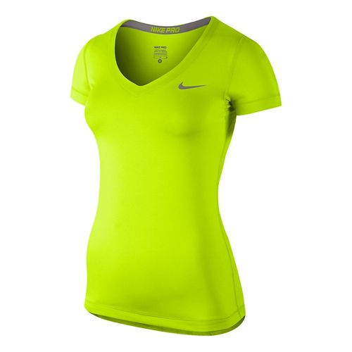 Womens Nike Pro V-Neck Short Sleeve Technical Tops - Volt XL