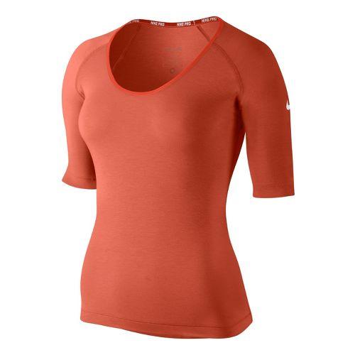 Womens Nike Pro Studio Short Sleeve Technical Tops - Orange Peel M