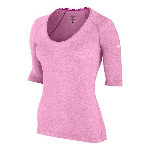 Womens Nike Pro Studio Short Sleeve Technical Tops - Pink Ice L
