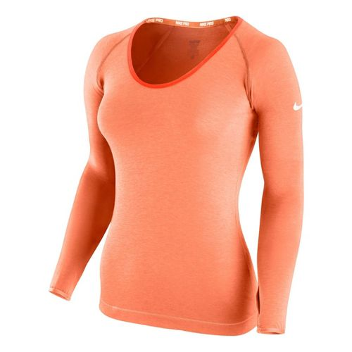 Womens Nike Pro Studio Long Sleeve No Zip Technical Tops - Orange Peel L