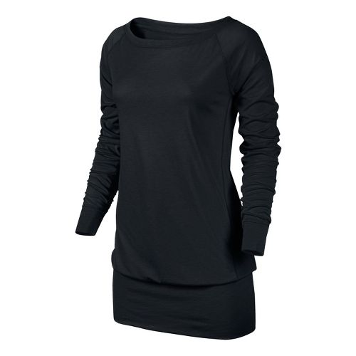 Womens Nike Epic Long Crew Long Sleeve No Zip Technical Tops - Black/Heather S