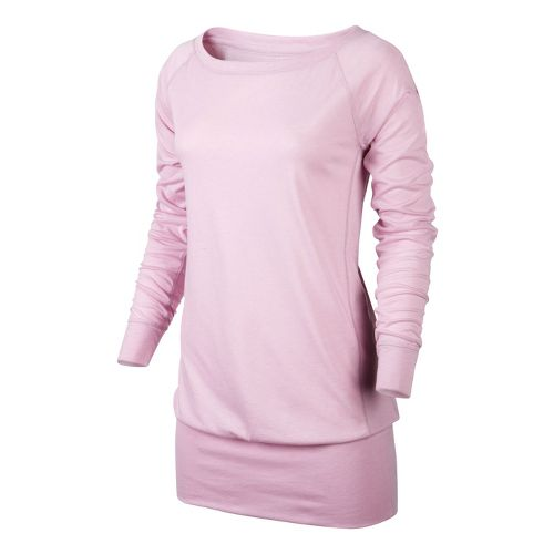 Womens Nike Epic Long Crew Long Sleeve No Zip Technical Tops - Pink Ice S ...
