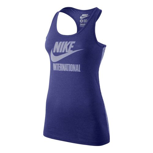 Womens Nike Tee-RU International Tank Technical Tops - Blue Night M