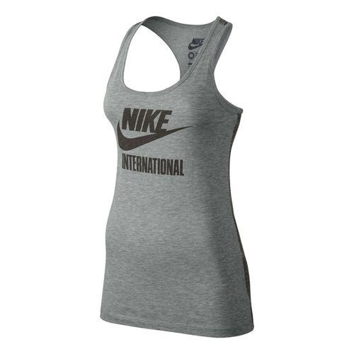Womens Nike Tee-RU International Tank Technical Tops - Heather Grey L