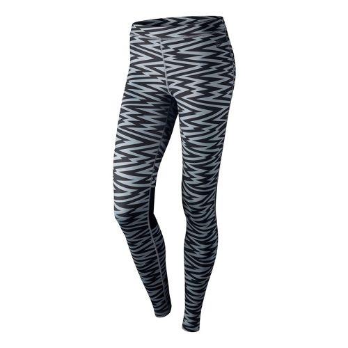 Womens Nike RU W AOP Legging Fitted Tights - Black/Dark Grey L