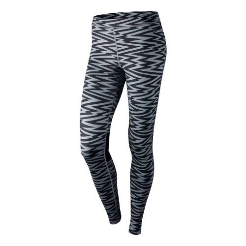 Womens Nike RU W AOP Legging Fitted Tights - Black/Dark Grey XS