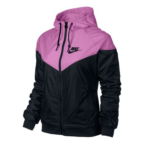 Womens Nike Windrunner Running Jackets - Black/Pink Ice L